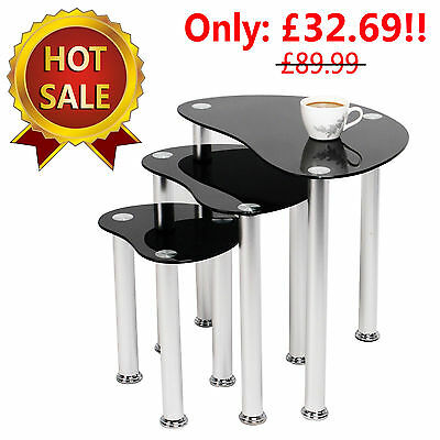 Black Tempered Glass Nest of 3 Coffee Tables New Modern Gloss Side End Table Set