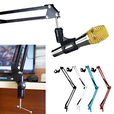 Desk Mic Microphone Suspension Scissor Arm Stand Shock Mount Adjustable Studio