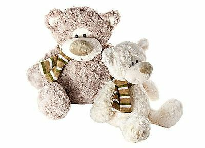 Set Two 28 cm Cream 34 cm Brown Cuddly Plush Teddy Bear Soft Toys