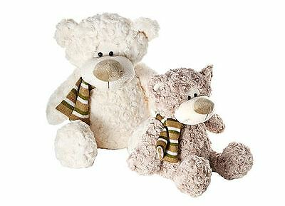 Set Two 28 cm Brown 34 cm Cream Cuddly Teddy Bear Soft Toys
