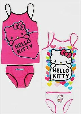 Hello Kitty Girls Pink/White Briefs Pants Vest Set x 1 Age 4/6 7/8 10/12 Years