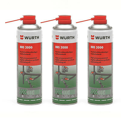 Genuine Wurth HHS 2000 - Highly Adhesive Synthetic Lubricating Oil - 3 x 500ml