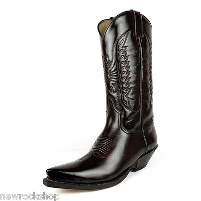 de9fbd5c7d2 SENDRA 2073 MEN Cowboy Boots Dark Fuchsia Leather Mid Calf Western Boot