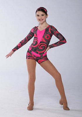 56541aab4 PINK AND BLACK dance costume with black shrug tap Jazz Competition ...