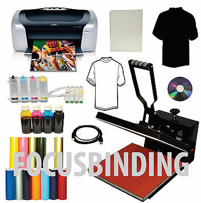 15x15 Heat Press Printer CISS Dye Ink Transfer Tshirts PU Vinyl Start-up Bundle