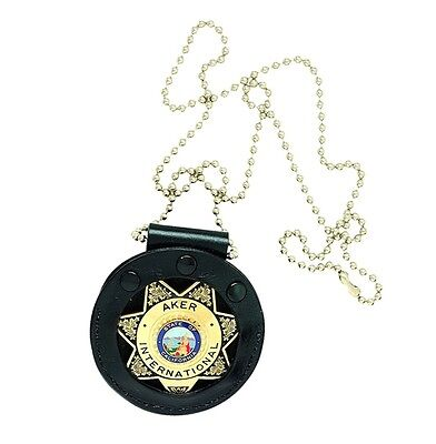 New Authentic Aker 599 Neck Star Badge Holder with Plain Black Leather A599-BP