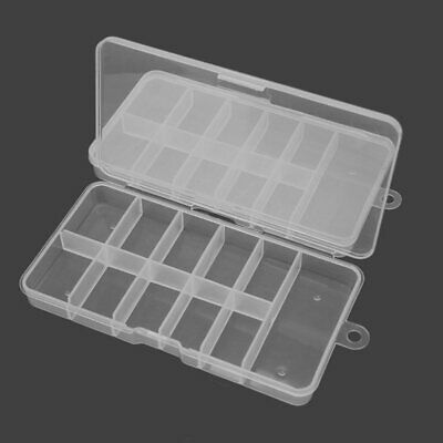 2 Empty Acrylic Storage Box Case for Nail Art Tips Rhinestones Gems Container