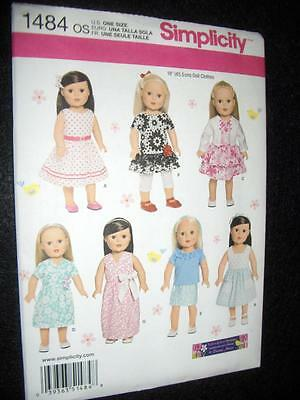 """18"""" DOLL NEW Simplicity 1484 Pattern  Summer Clothes Morin Fits American Girl"""