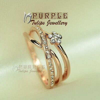 18CT Rose Gold Plated Fashion Ring Made With Genuine Swarovski Crystal