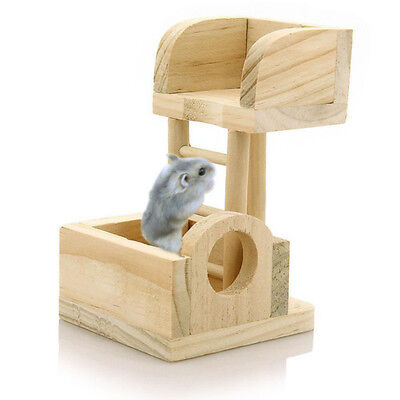 [NEW] Pet Rat Hamster Mouse Wooden Lookout Tower Platform Exercise Toy