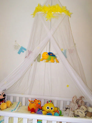 Yellow Feather Boa Star Cot Single Bed Mosquito Net Princess Fairy Tale Canopy