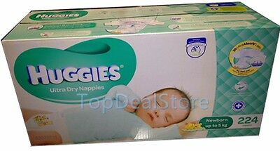 224 Huggies Ultra Dry Nappies Newborn Disposable Newborn Baby Boy Girl Nappy