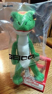 """GEICO GECKO STUFFED TOY 7"""" TALL NEW IN SEALED BAG LOT OF 2"""