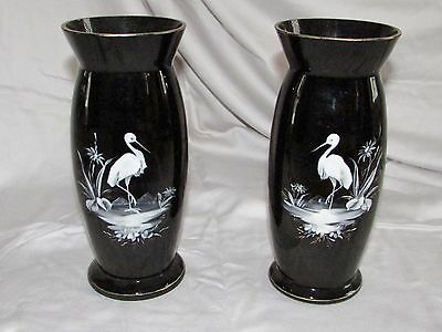 Pair Antique Mary Gregory Black Amethyst Art Glass Vases