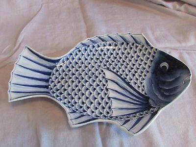 Very Good Antique Japanese Fish Form Dish Signed Blue and White Finest Quality