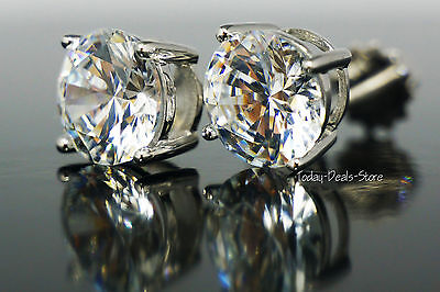 Round Earrings Studs Solid 14K White Gold Brilliant Cut Screwback Backet 2.0 ctw