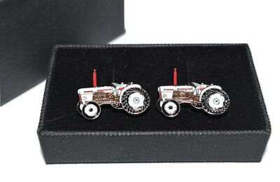 David Brown Tractor Cufflinks Boxed Farming Gift Enamel Wedding White & Brown