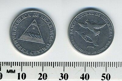 Nicaragua 50 Centavos, 1994 Chromium Plated Steel Coin - Bird flying above map