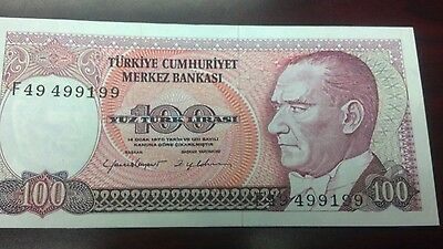 1970 Turkey 100 Lira banknote unc serial# F49499199
