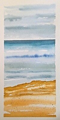 HAND painted WATERCOLOUR artist PICTURE card OCEAN calm STORM sky SHORE art BEAC