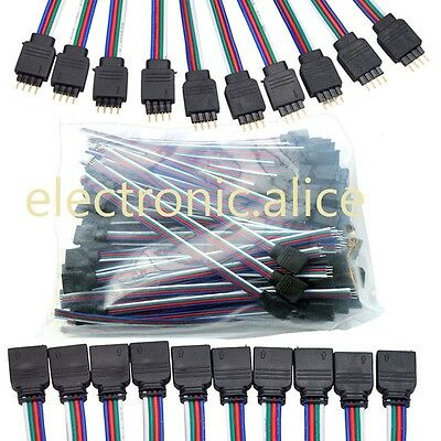 4 pin Male Connector for RGB 3528 5050 LED Strip Wholesale 50PCS A/&W01