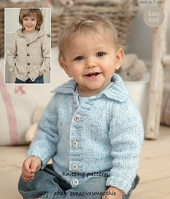 (77) DK Knitting Pattern Boy Girl Easy Knit Jacket with Hood or Collar 16-26''