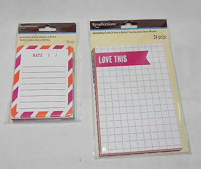 """5P Recollections-Michaels Stores-Journaling Cards-50pc 3"""" x 4"""" & 24pc 4""""x 6"""" Lov"""
