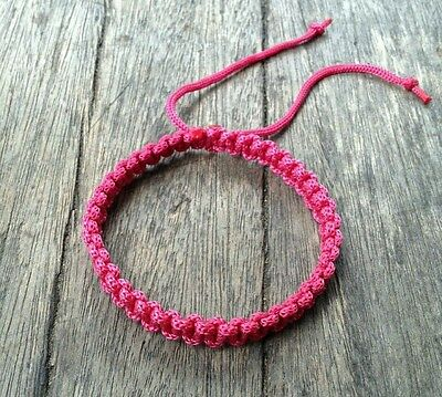 Authentic Thai Blessed Buddhist Wristband Fair Trade Wristwear Pink