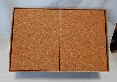 "Raw Brute Natural Cork 3 into 1 Storage Boxes 11 x 7.5 x 4.5"" 2ea 5.5 x 7.5 12H"