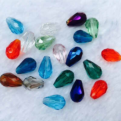 20pcs8x12mm Faceted cut glass crystal Loose Spacer Teardrop beads Color choice