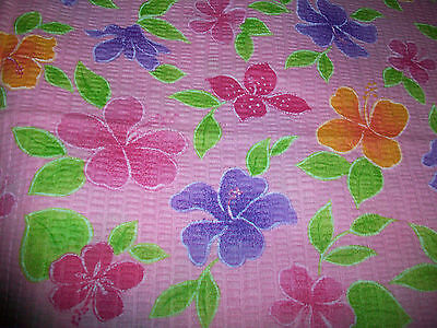 Colorful Flowers On Light Pink Poly Seersucker Fabric