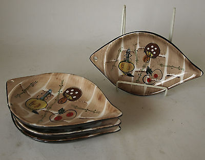 Vintage Retro 50s/60s HAND-PAINTED CERAMIC/PORCELAIN DISHES x4 Plates/Trays