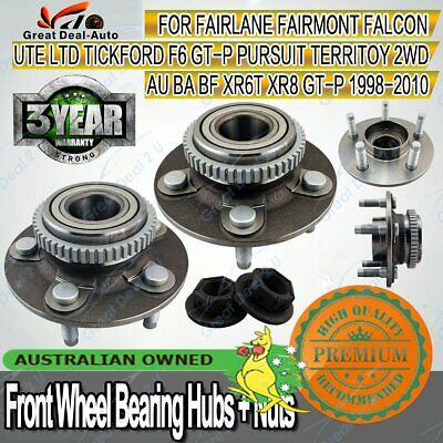 2 Ford Falcon AU/BA/BF Territory 2WD ABS Front Wheel Bearing Hub Nuts