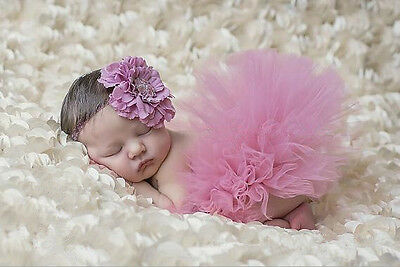 Newborn Baby Girls Tutu Skirt + Headband Flower Photography Studio Props Costume