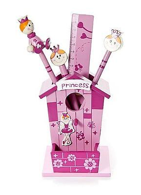 Wooden Girls Princess Pink Pencil Pot Stationary Set Mousehouse