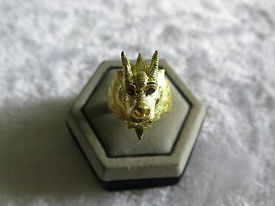 Holy Rare Bronze With Gold Plated Dragon Ring Ring Red Eyes Stone New Sz 11