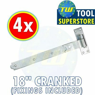 "4PK 18"" Hook Band Hinges - Cranked Heavy Duty Gate Hinge + Galvanised Finish"