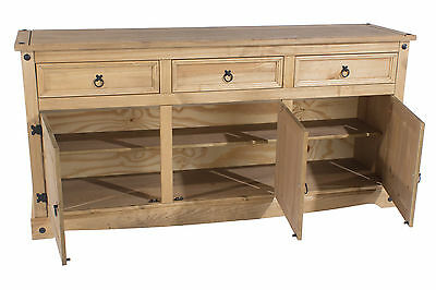 Premium Corona Mexican Solid Pine Large 3 Door Buffet Sideboard Dovetail Joints