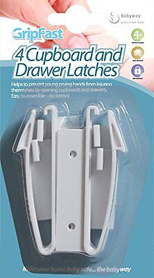 Babyway Gripfast 2 Drawer Safety Latches Catches Child Drawer Opening Stoppers