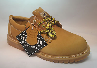 "New Mens Leather Oxford Shoes 4"" Tan Slip Oil Resistant Oxford Work Boots Sizes"