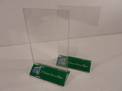 Lot of 2 Rolling Rock Beer  Acrylic  Table Card Menu Holder Stand Restaurant