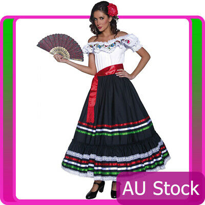 Mexican Spanish Dancer Flamenco Spain Fancy Dress Western Senorita Costume + Fan