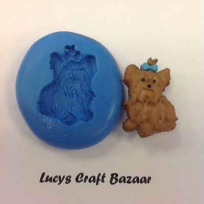 Silicone Mould Yorkshire Terrier Yorkie Dog Cupcake Pop Topper Sugar craft Fimo