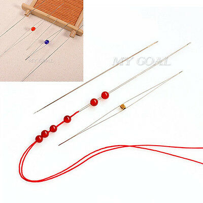6pcs Big Eye Curved Beading Needles Easy Thread Jewellery Craft DIY 125x0.6mm