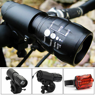 2x Cree Q5 Mountain Bike Bicycle Cycling Zoomable Torch Front + LED Rear Lamp