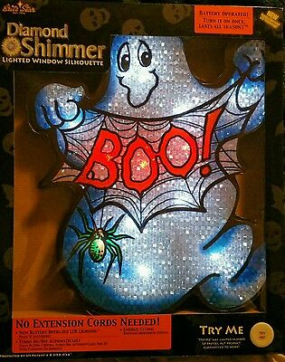 Diamond Shimmer Battery Powered Lighted Ghost Halloween Window Decoration