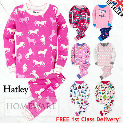 GIRLS HATLEY PYJAMAS - NEW CHILDRENS 100% COTTON PJ'S SIZES 2y - 12y LONG SLEEVE