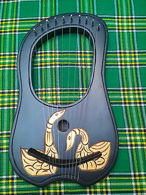 Lyre Harp 10 Strings Rosewood Hand Engraved With Golden Duck/lyra Harp Strings