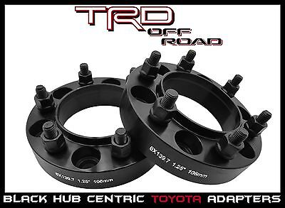 """2 Pc Toyota 6x5.5 6x139.7 HubCentric Wheel Spacers 1.25"""" Black 6 Lug Truck SUV's"""