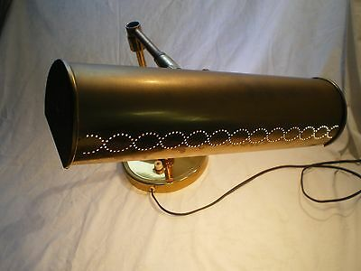 Vintage Swing Arm Brass Metal Scallop Punched Shade Desk Lamp Floating Heavy